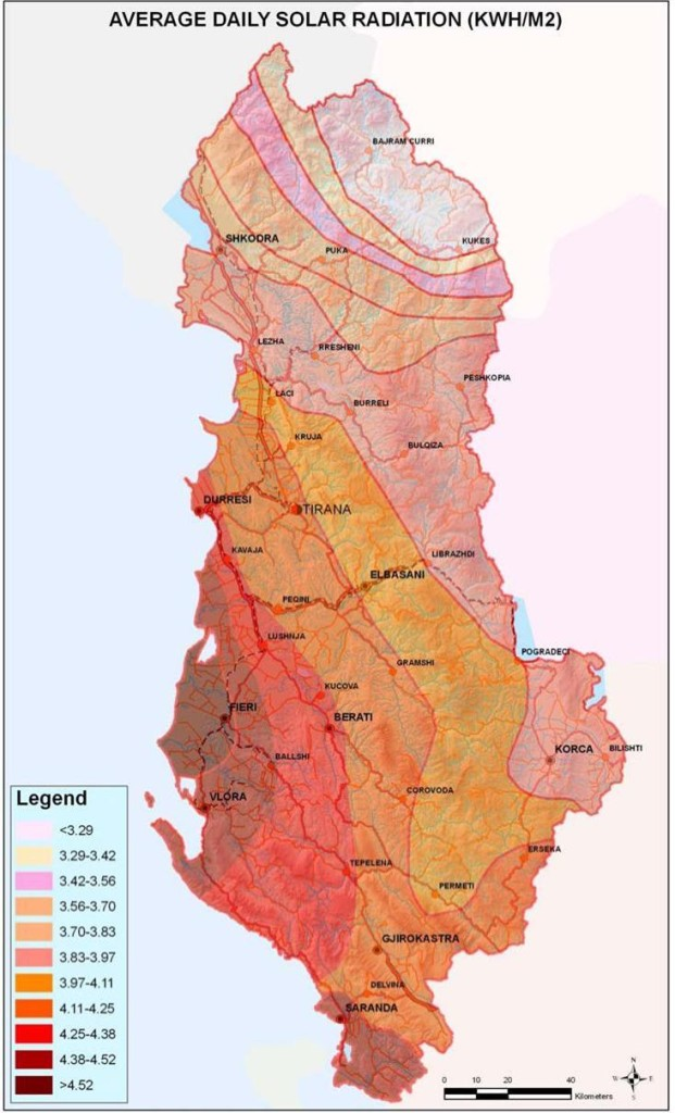 Figure 15 Territorial distribution of average daily solar radiation in Albania
