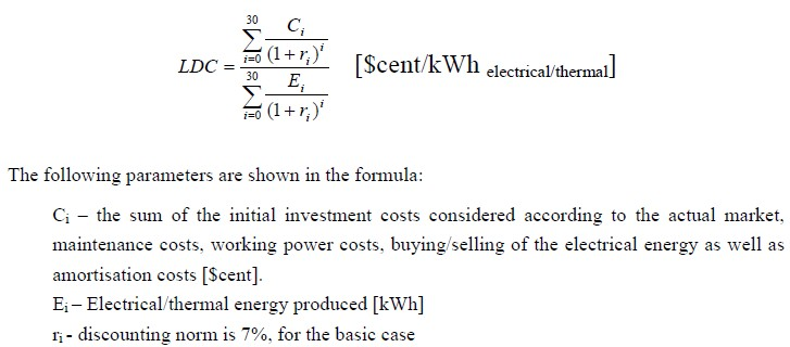 Evaluation of the energy/thermal unit cost for each RET