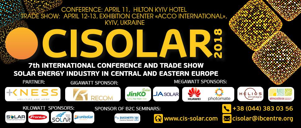 CISOLAR-2018 April 11-13 KYIV-Ukraine